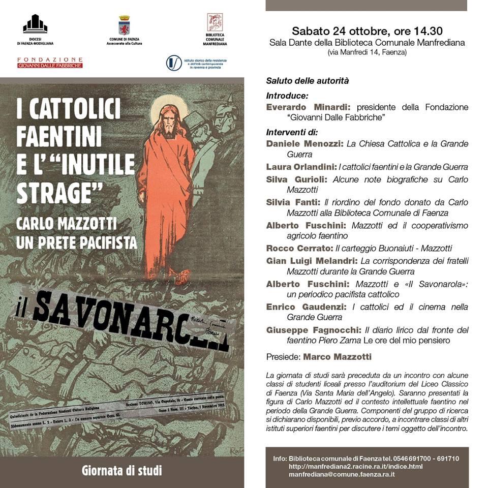 La locandina del programma del Convegno di studi dedicato a Mons. Mazzotti