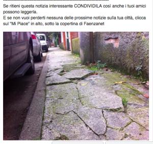 Una schermata del 27 ottobre scorso sulla pagina facebook di Faenzanet che segnala uno dei tanti disagi che affliggono Faenza