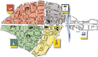La suddivisione attuale dei cinque rioni di Faenza è di epoca napoleonica