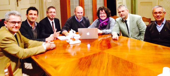 I sei sindaci dell'Unione della Romagna faentina con la consigliera regionale Rontini