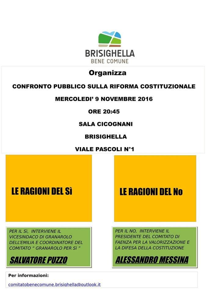 Il volantino d'invito al dibattito sul referendum organizzato dal gruppo Brisighella Bene Comune