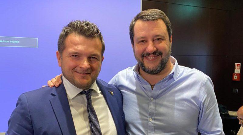 Andrea Liverani con Matteo Salvini